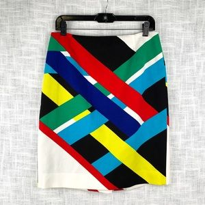 Carlisle pencil skirt in bold overlapping stripes